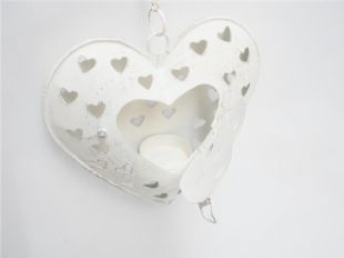 Small Hanging White Distressed Heart Tea Light Candle Holder Decoration Gift.